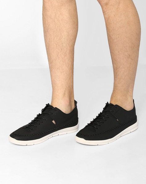 Panelled Lace-up Sneakers With Cutouts By Muddman ( Black )