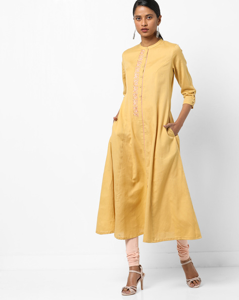 Embroidered Flared Kurta With Mandarin Collar By AJIO ( Mustard )