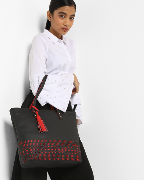 Tote Bag With Laser Cutouts By Toteteca ( Black )