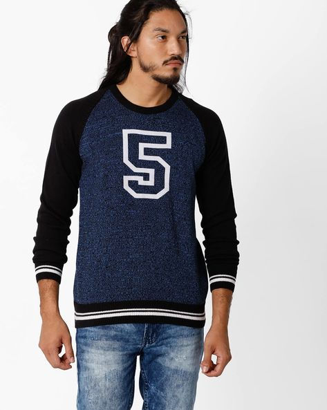 Regular Fit Pullover With Graphic Print By TEAM SPIRIT ( Ltblue )