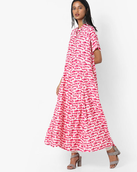 Printed Dress With Button Placket By Project Eve IW Fusion ( Pink )