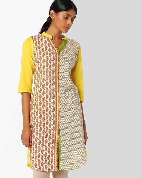 Floral Print Kurta With Roll Tab Sleeves By AVAASA MIX N' MATCH ( Yellow )