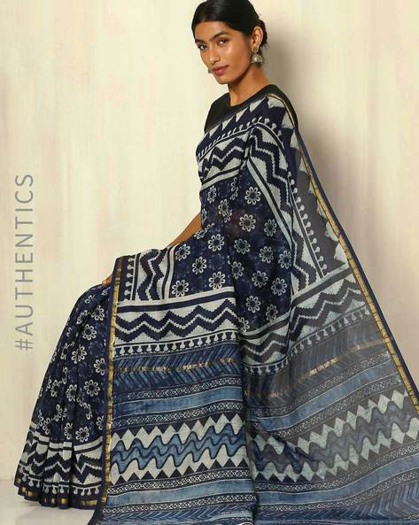 Handblock Print Indigo Chanderi Saree With Zari Border By Indie Picks ( Indigo ) - 460053727001