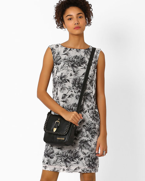 Floral Print Shift Dress By Vero Moda ( Black )