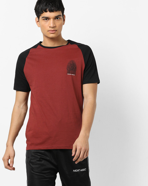 Graphic Print T-shirt With Raglan Sleeves By AJIO ( Rust )