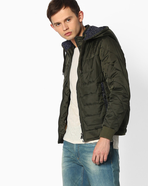 Quilted Jacket With Hood By Fort Collins ( Green )