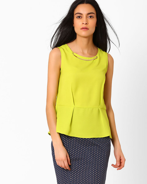 Sleeveless Peplum Top By AJIO ( Limegreen )