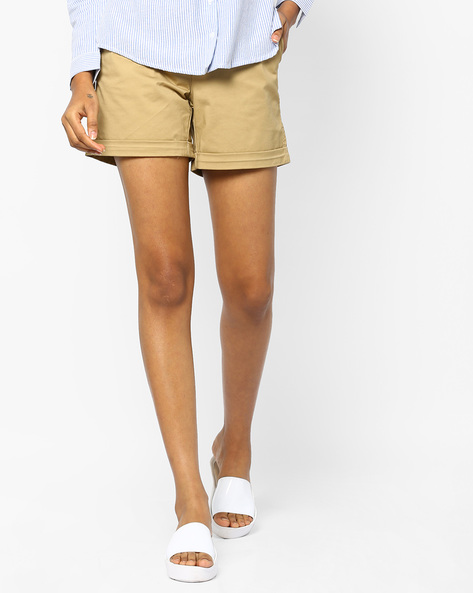 Flat-Front Shorts With Upturned Hems By PE WW Casual ( Beige ) - 440763426002