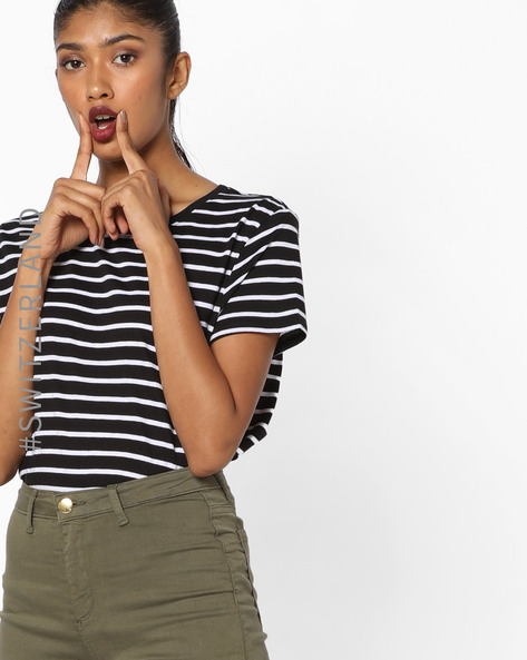 Striped Crew-Neck T-shirt By TALLY WEiJL ( Blackwhite )