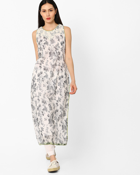 Floral Print Sleeveless Kurta By AJIO ( Grey )