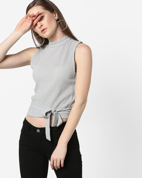 Ribbed Sleeveless Top With Tie-Up By AJIO ( Grey )