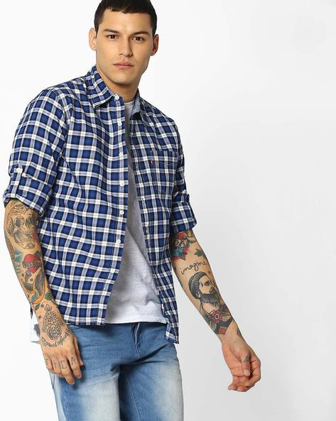 Yarn-Dyed Checked Shirt With Patch Pocket By LEVIS ( Blue )