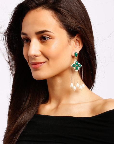 Gold-Plated Drop-Earrings With Tassels By Ssoul ( Darkgreen )