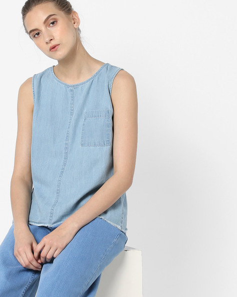 Sleeveless Top With Patch Pocket By Blue Saint ( Blue )