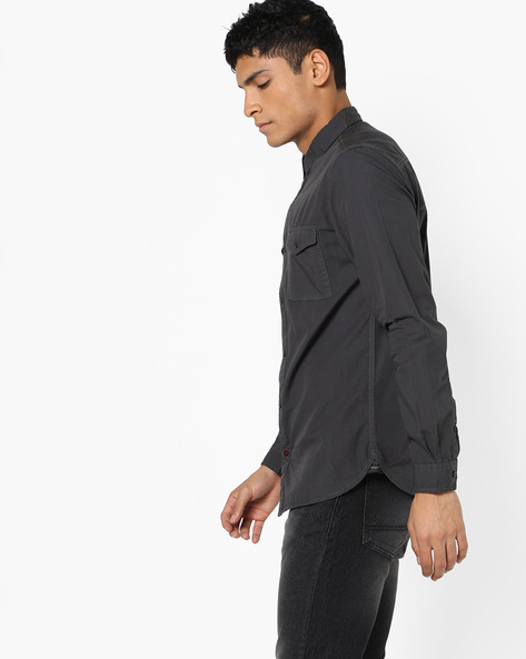 Cotton Shirt With Printed Back By Locomotive ( Grey )