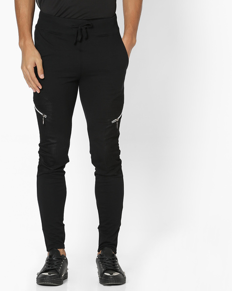 Panelled Joggers With Drawstring Fastening By Campus Sutra ( Black ) - 460161983003