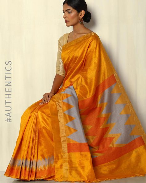Pure Silk Dupion Handloom Saree With Temple Border By Pretty Woman ( Mustard )