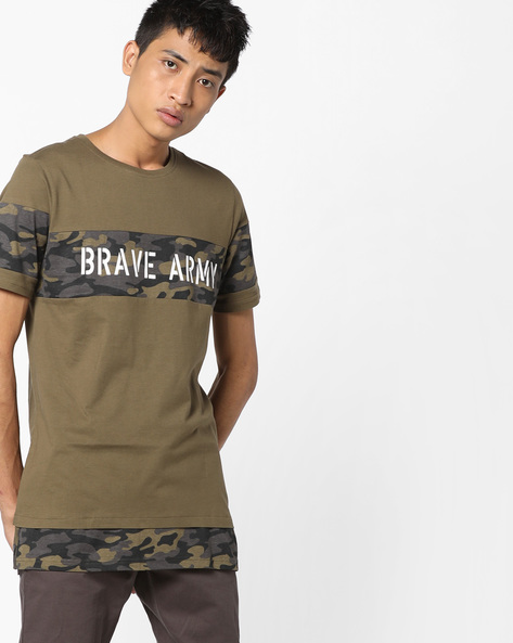 Crew-Neck T-shirt With Printed Panels By AJIO ( Olive )