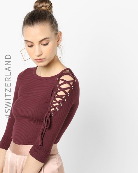Ribbed Top With Lace-Up Sleeve By TALLY WEiJL ( Wine )