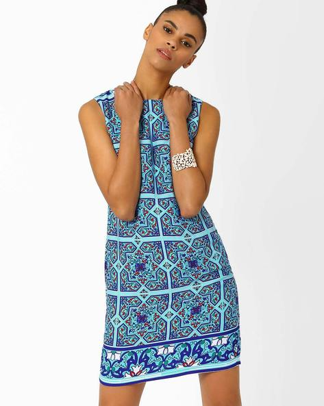 Printed Sheath Dress By AJIO ( Blue )