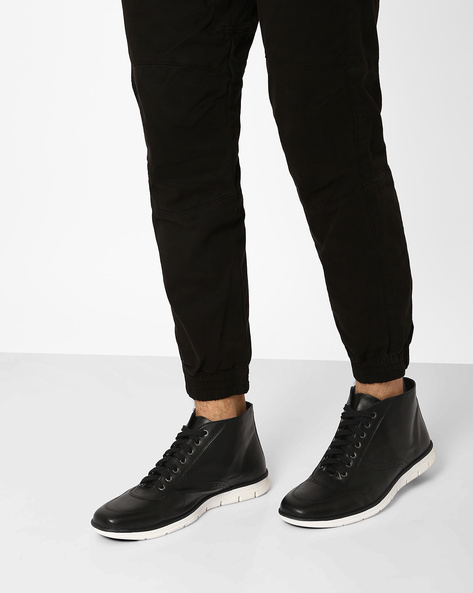 Faux Leather High-Top Sneakers By AJIO ( Black )