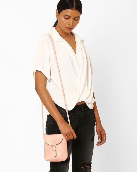Textured Sling Bag With Buckle By Addons ( Pink )