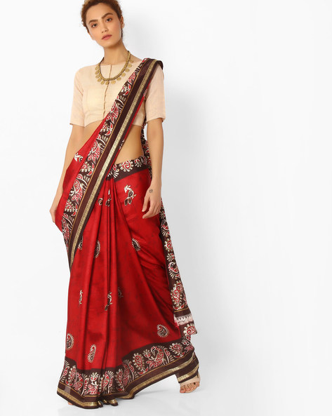 Printed Saree With Contrast Border By Majestic Silk ( Black ) - 460065876001