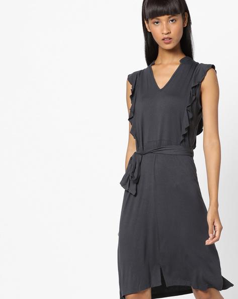 Ruffled Shift Dress With Tie-Up By AJIO ( Grey )