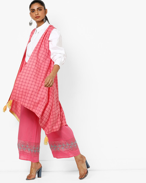 Checked Longline Shrug With Tassels By AJIO ( Pink )