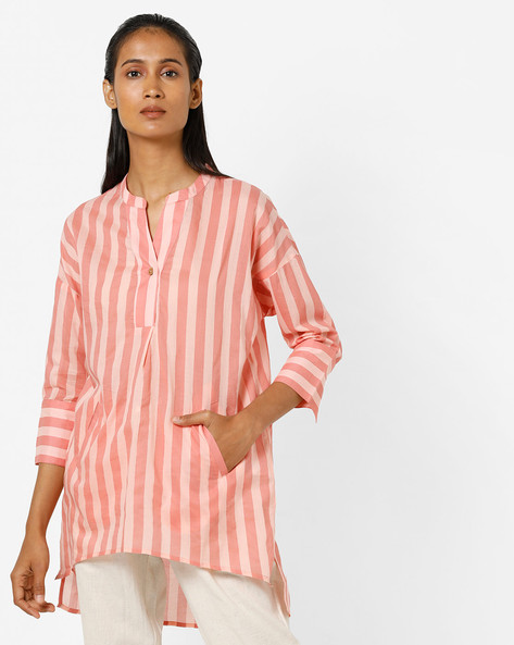 Striped Top With Drop-Shoulder Sleeves By AJIO ( Pink )
