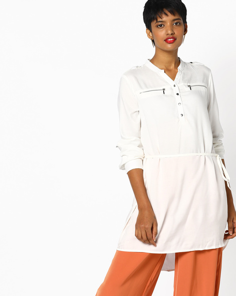 High-Low Tunic With Belt By Project Eve WW Casual ( Offwhite )