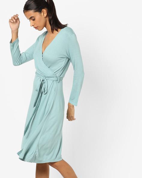 Wrap-Around Sheath Dress By AJIO ( Duskygreen )