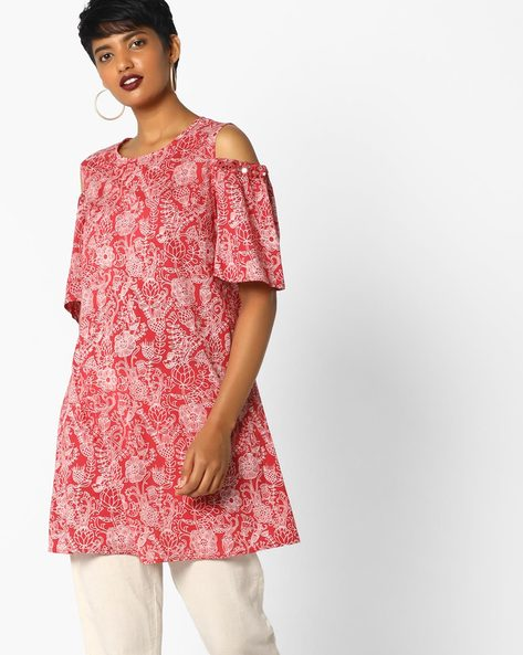 Floral Print Tunic With Cold Shoulders By AJIO ( Maroon )