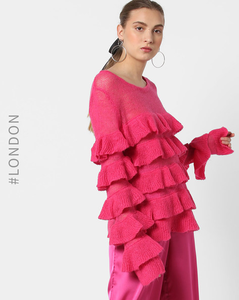 Sheer Pullover With Tiered Ruffle Sleeves By Glamorous ( Pink )