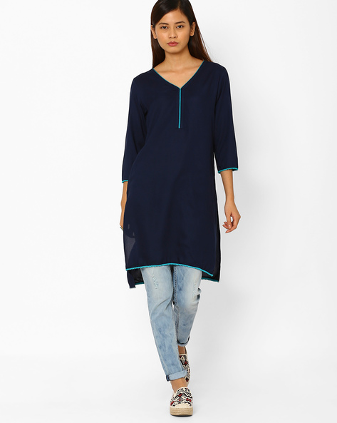 High-Low Straight Kurta By AJIO ( Navyblue )