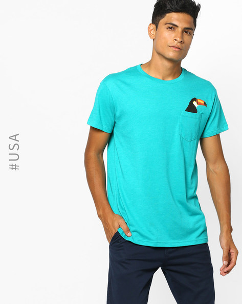 Crew-Neck T-shirt With Patch Pocket By Aeropostale ( Turqouise )
