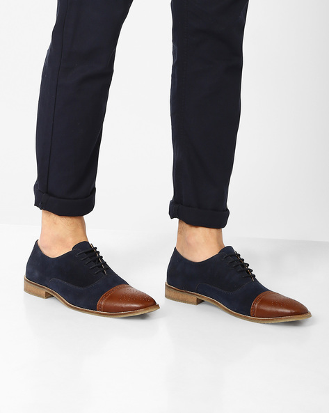 Faux Leather Cap-Toe Shoes By FAMOZI ( Navy )