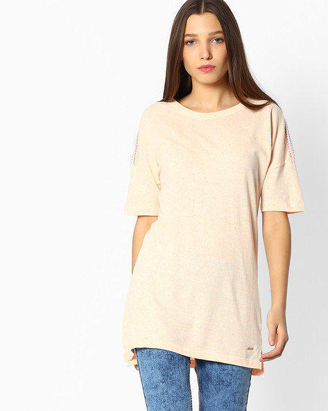 Crew-Neck Top With Drop Shoulders By TEAM SPIRIT ( Orange )