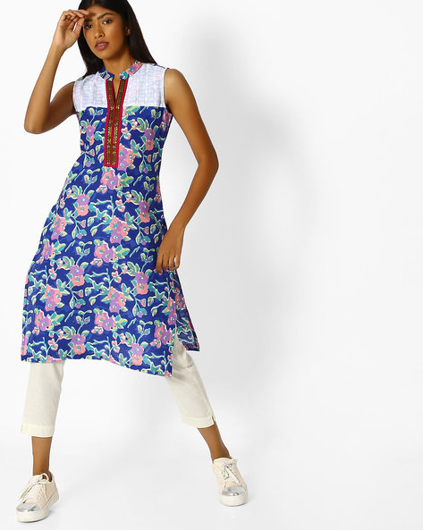 Floral Print Kurta With Contrast Yoke By SOCH ( Blue )