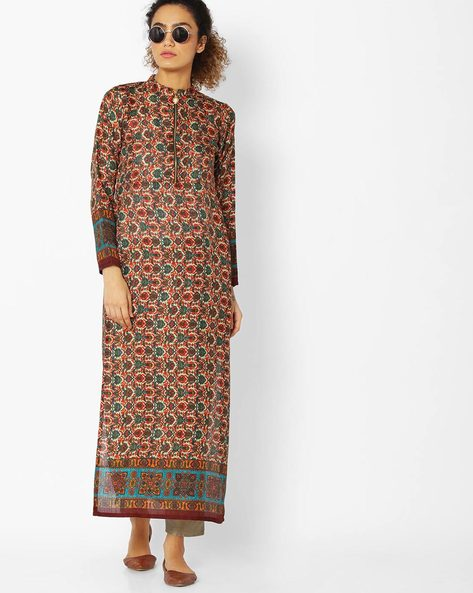 Printed High-Neck Straight Kurta By Libas ( Orange )