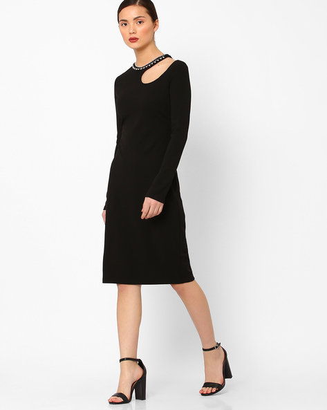 Sheath Dress With Detachable Necklace By AJIO ( Black )