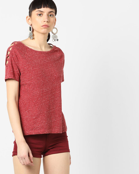 Heathered Top With Criss-Cross Sleeves By AJIO ( Red )