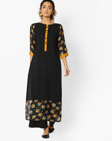 Straight Kurta With Floral Print By Libas ( Black )