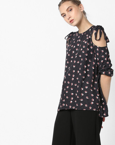 Cold-Shoulder Top With Tie-Up Sleeves By Femella ( Black )
