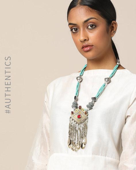 Afghan Tribal Beaded Long Necklace By Indie Picks ( Blue ) - 460178424001