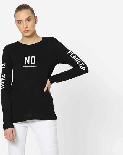 Full Sleeve Top With Typography By Alibi ( Black )