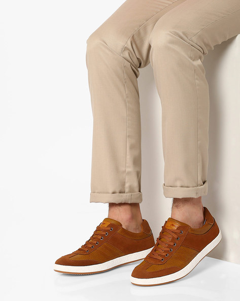 Lace-Up Sneakers With Perforations By Spunk ( Tan )