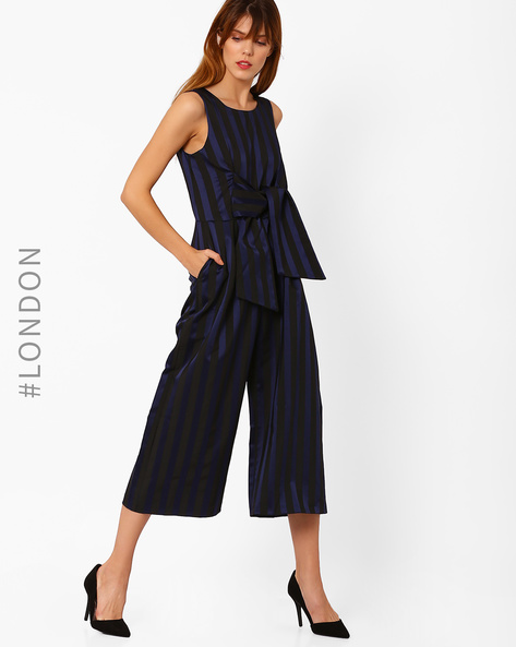 Striped Sleeveless Jumpsuit By Closet London ( Navyblue )
