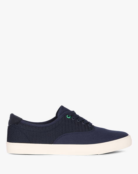 Textured Canvas Sneakers By UNITED COLORS OF BENETTON ( Blue )