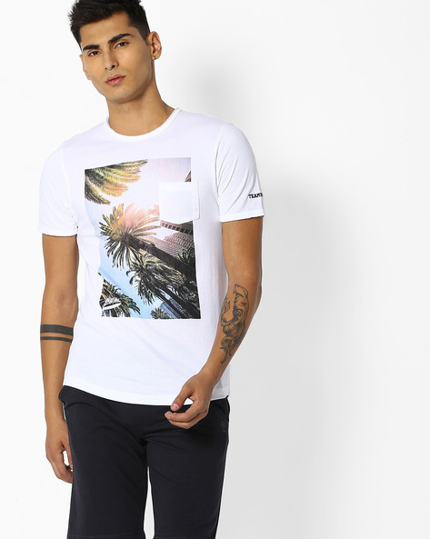 Graphic Print T-shirt With Patch Pocket By Teamspirit ( White )